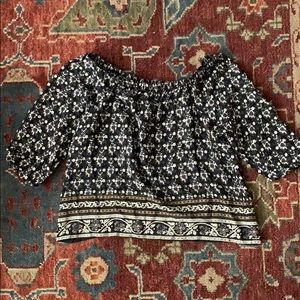 Madewell long sleeve silk off the shoulder top